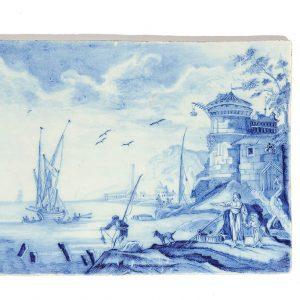 Antique Blue And White Delftware Plaque