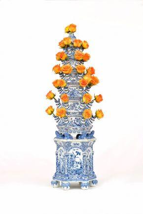 Delftware Pyramidal Flower Vase
