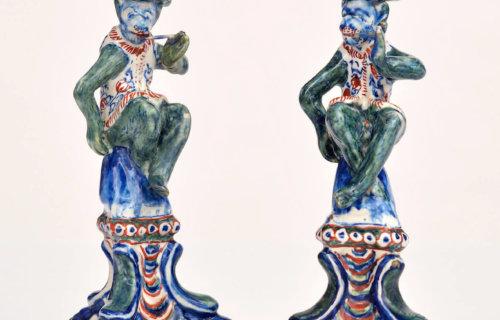 Antique Pair Of Monkey Figures By Lambertus Van Eenhoorn At Aronson Antiquairs