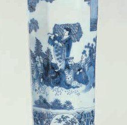 D861. Blue And White Octagonal Vase