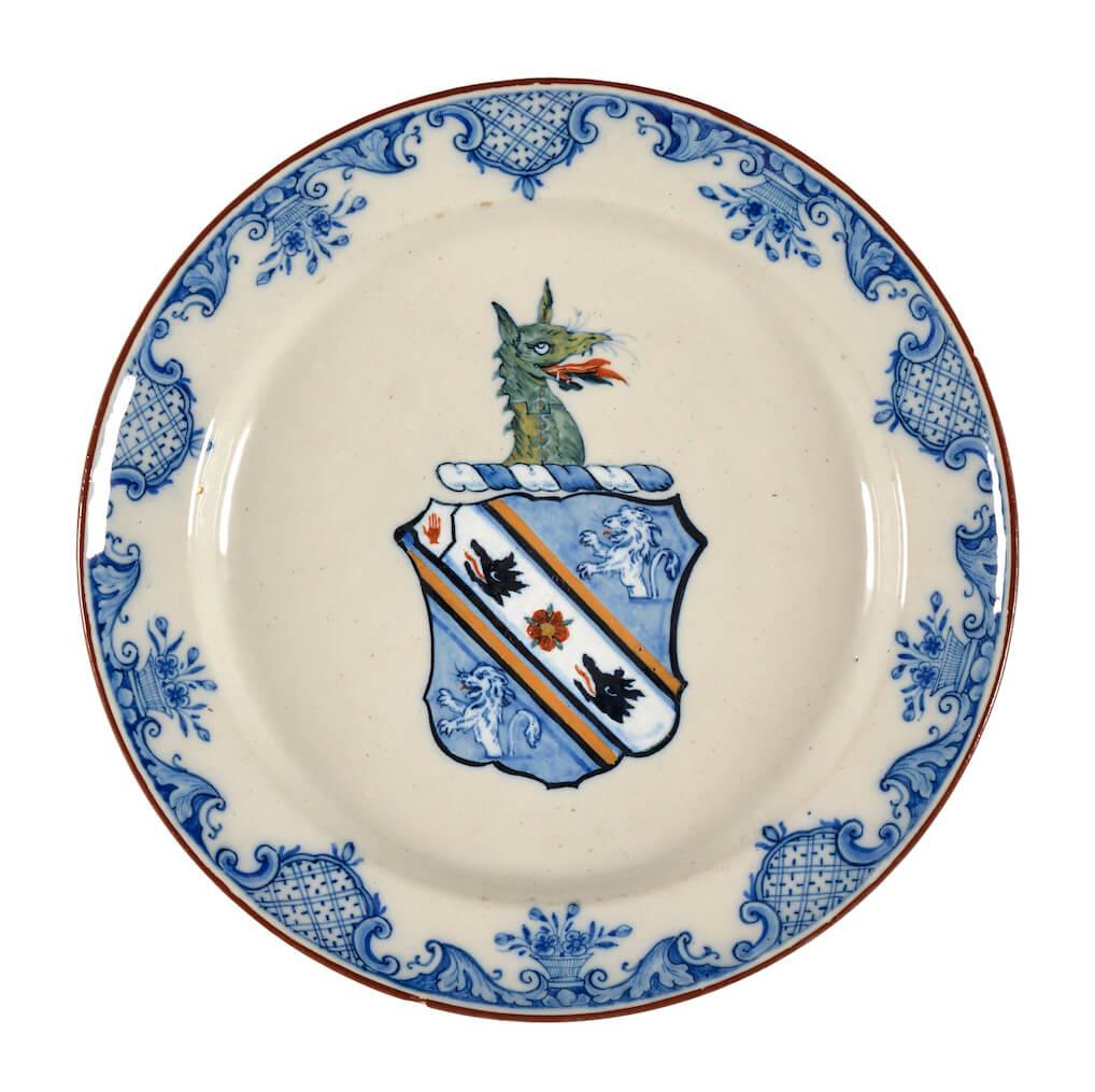 Antique Wapengoet delftware plate De Grieksche A
