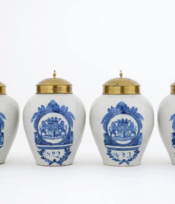 Antique Amorial Tobacco Jars at Aronson Antiquairs