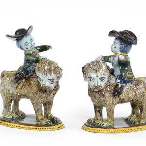 Antique Polychrome Figurine Of Boys Riding Lions At Aronson Antiquairs