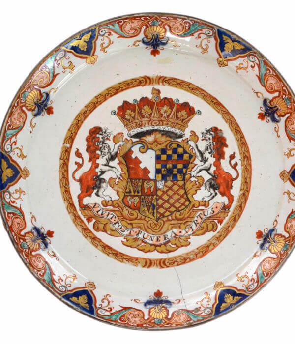 Antique Polychrome Gilded armorial plate