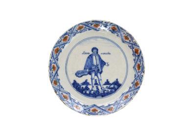 1425. Polychrome 'Commedia Dell'Arte' Plate