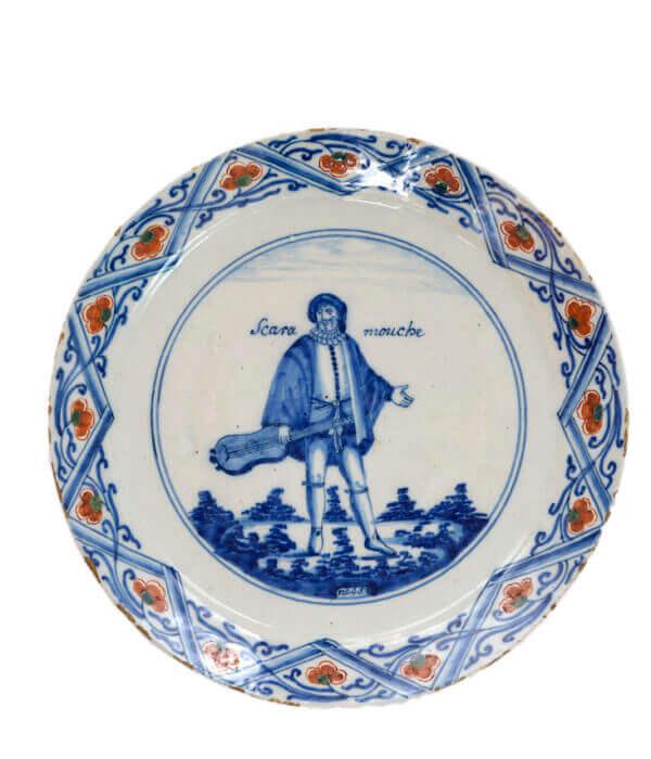 polychrome plate of commedia dell arte