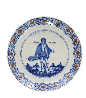 D1425. Polychrome 'Commedia Dell'Arte' Plate