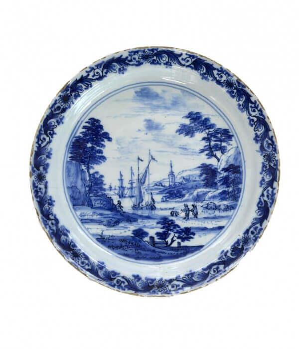 delftware antique ceramic plate