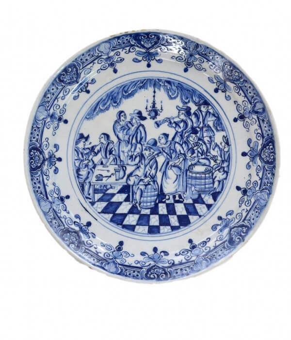 delftware antique plate with tavern scene