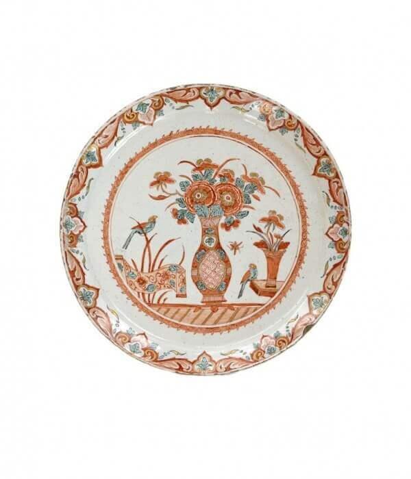 antique polychrome gilded plate Aronson Antiquairs