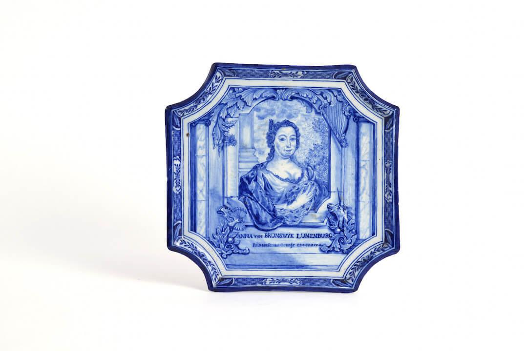 Antique Delftware portrait trays