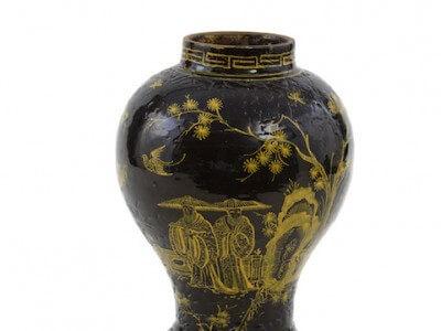 Antique Glazed Brown Vase Aronson Antiquairs