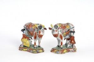 Petit Feu Gilded Polychrome Milking Cows