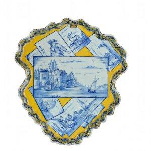 D1757. Polychrome Shield-Shaped Plaque