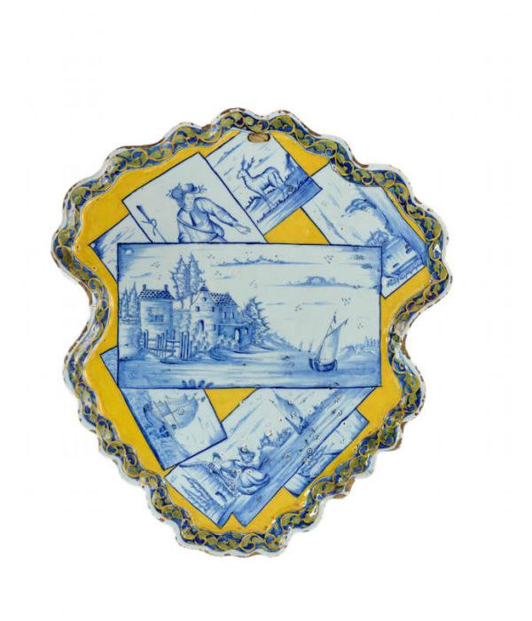 polychrome shield plaque Aronson Antiquairs