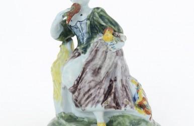 Polychrome Figure Of A Seated Lady