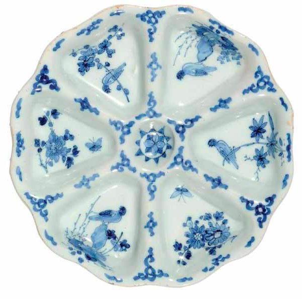 Antique ceramic sweetmeat dish, Delft created