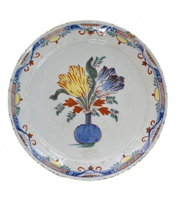 antique polychrome plate