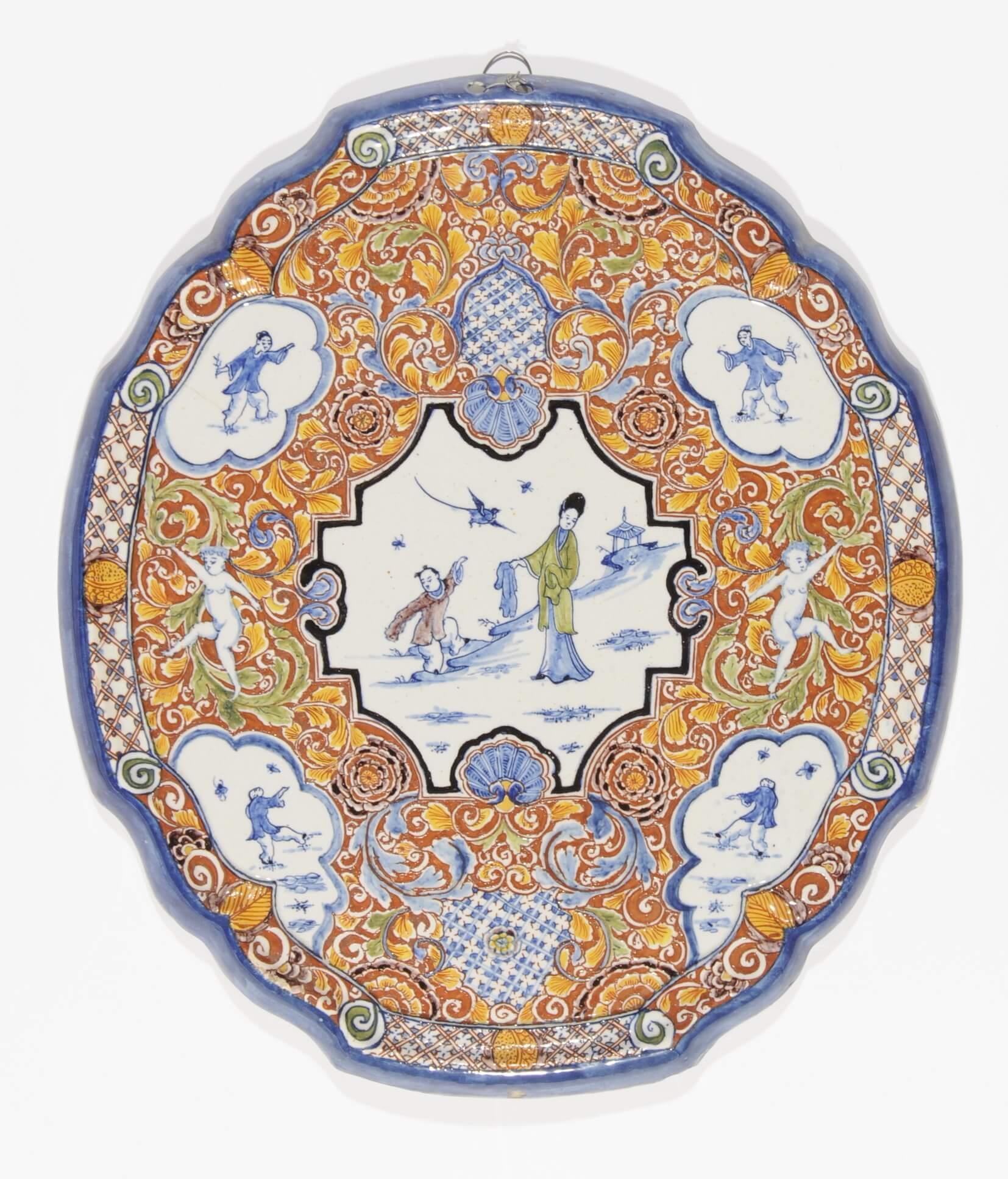 chinoiserie plaque polychrome antique