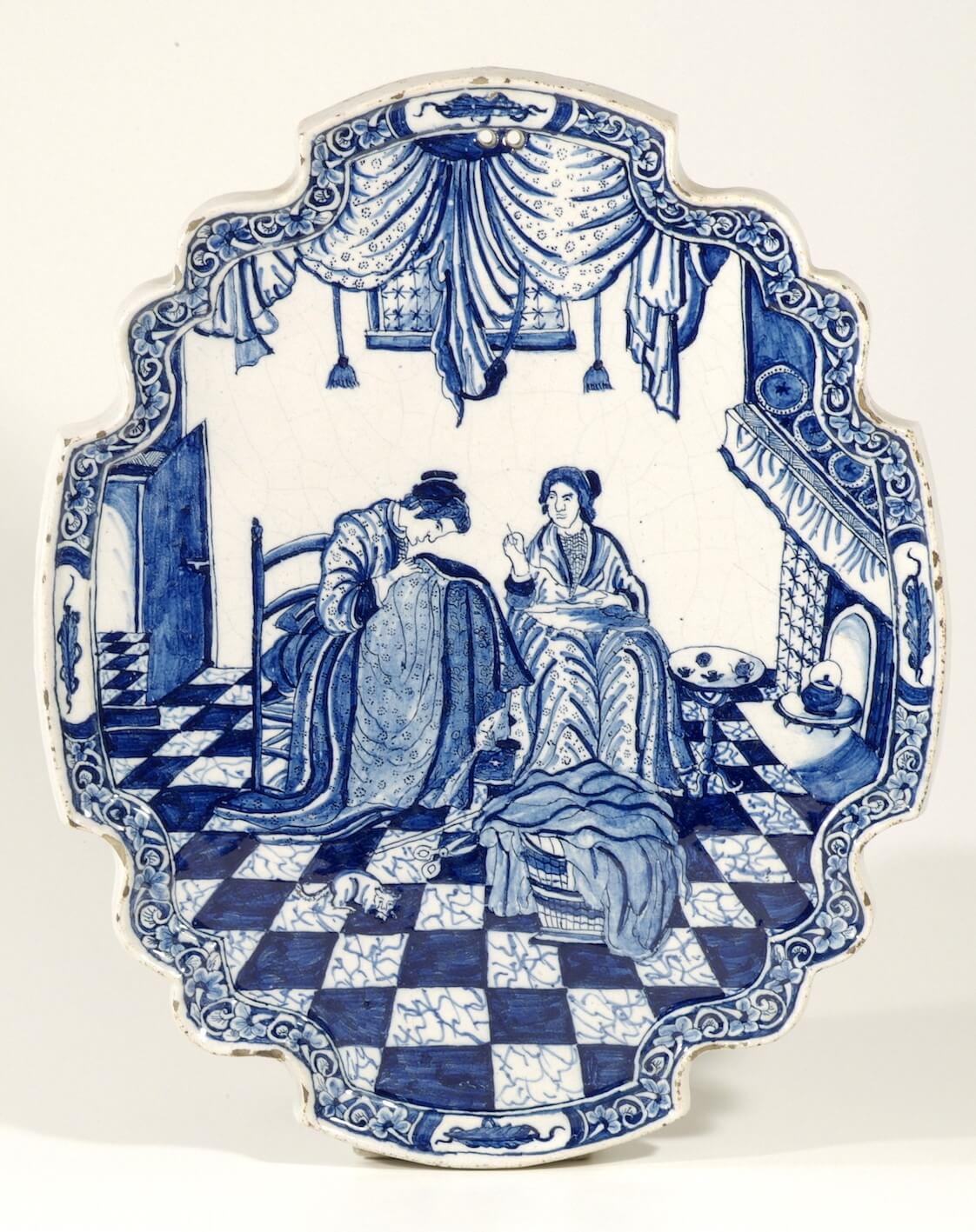 antique plaque blue and white ceramic