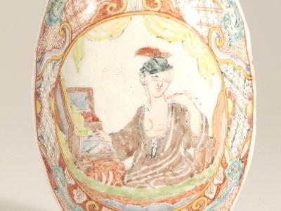 Antique Polychrome Oval Brush