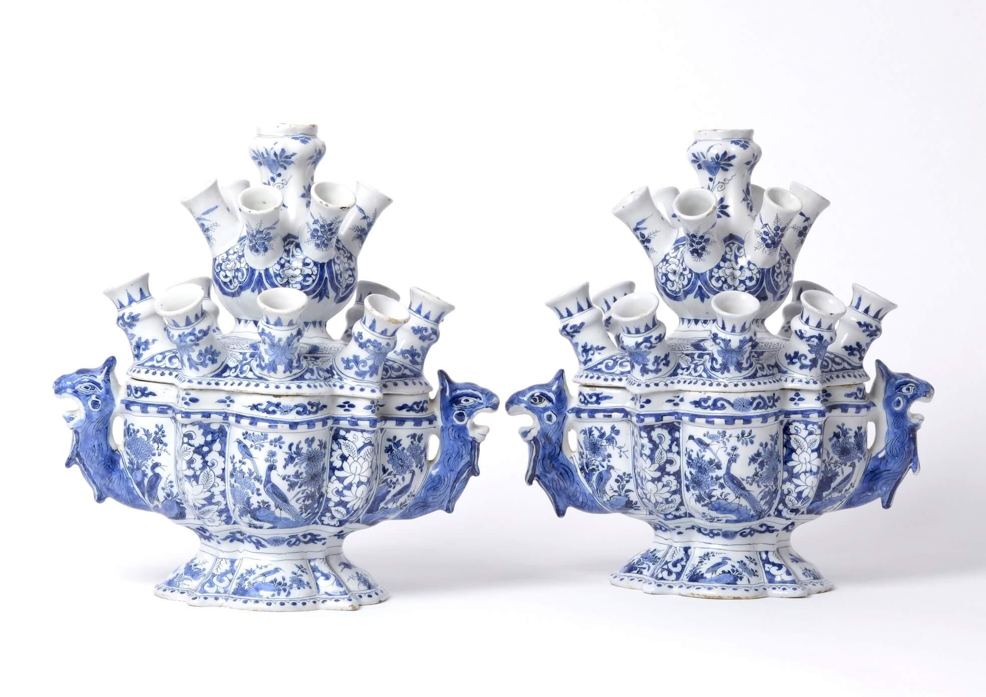 Antique Delftware flower vases at Aronson Antiquairs