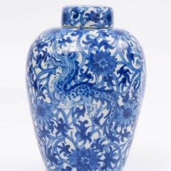 delft ware blue and white dragon jar