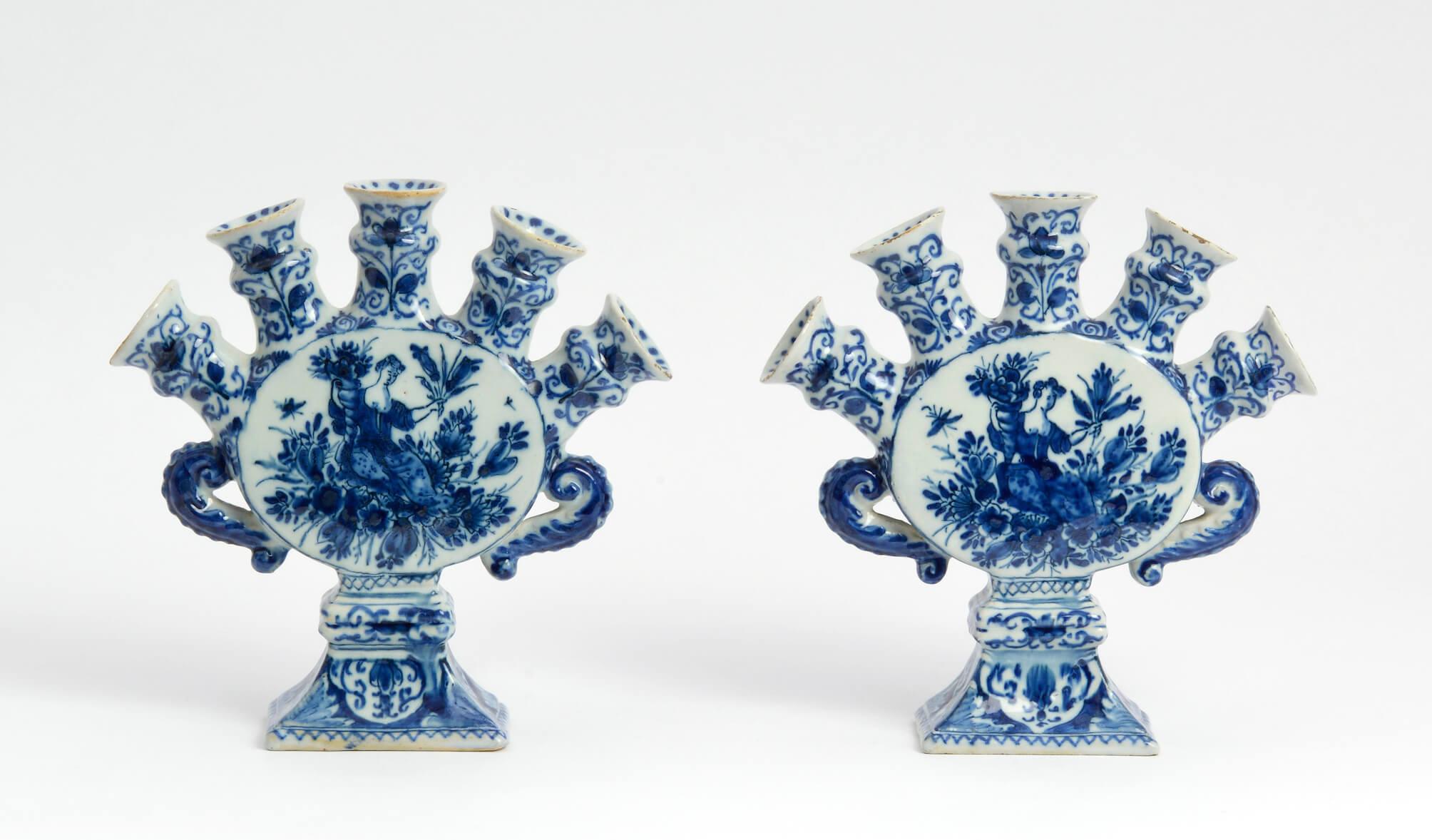 •D18001. Pair of Blue and White Flower Vases