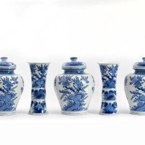 Delftware Blue Garniture Aronson Antiquairs