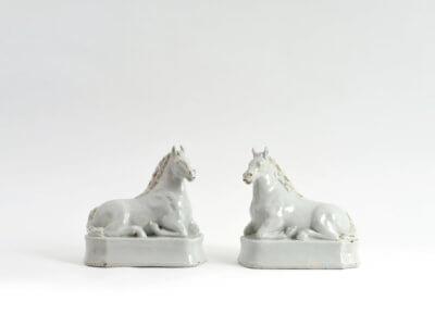 White Ceramic Horse Figures