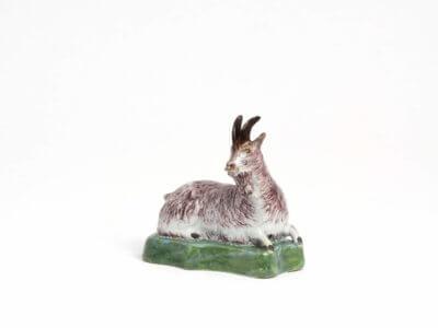 Polychrome Antique Recumbent Goat