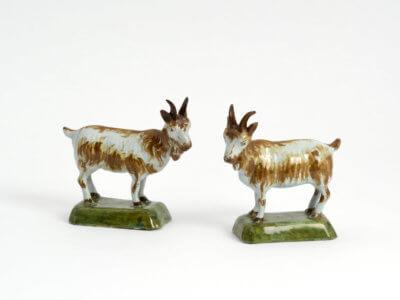 Duo Of Polychrome Goats Aronson Antiquairs