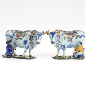 Polychrome Delftware Antique Milking Duo