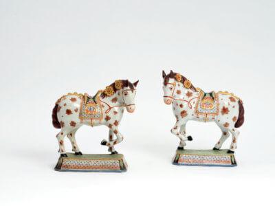 Pair Of Polychrome Petit Fue Horses