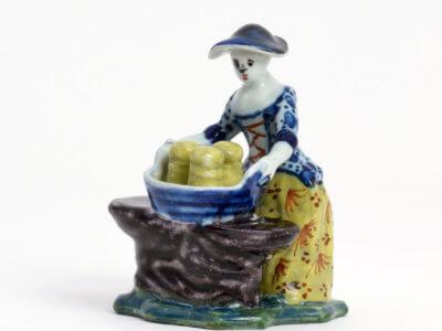 Antique Polychrome Butter Vendor