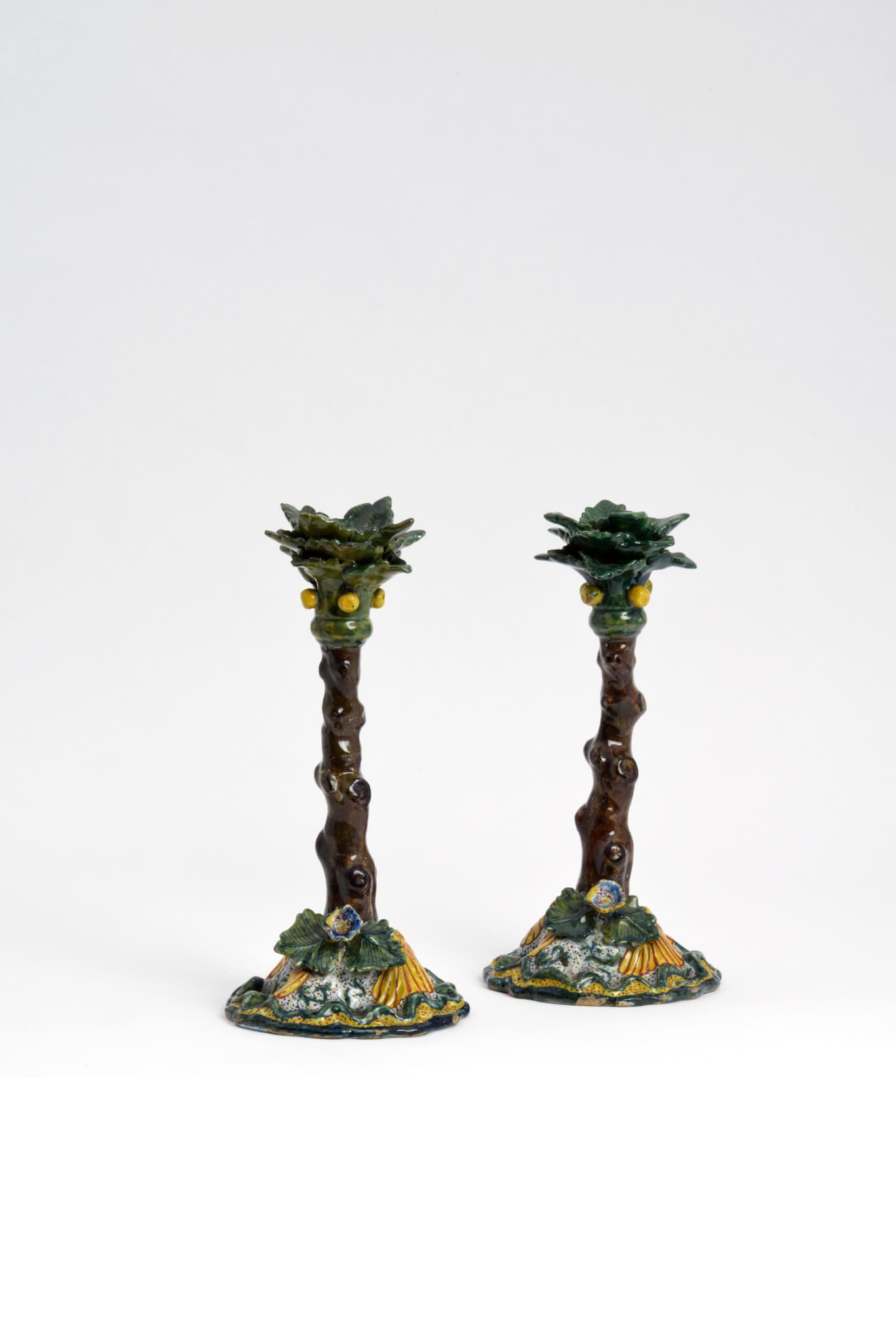 antique polychrome candlesticks