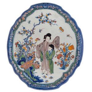Oval Plaque Polychrome Antique