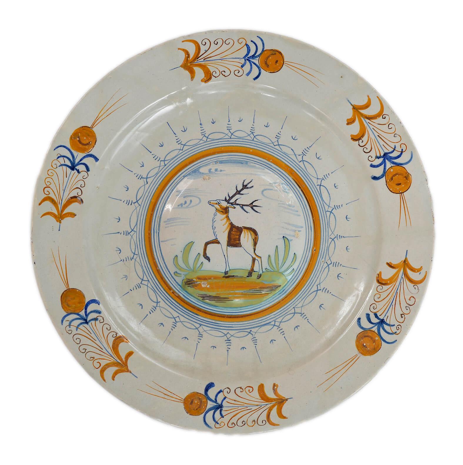 Ceramic Antique Polychrome Charger