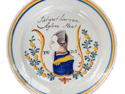 Antique Polychrome Orangist Charger
