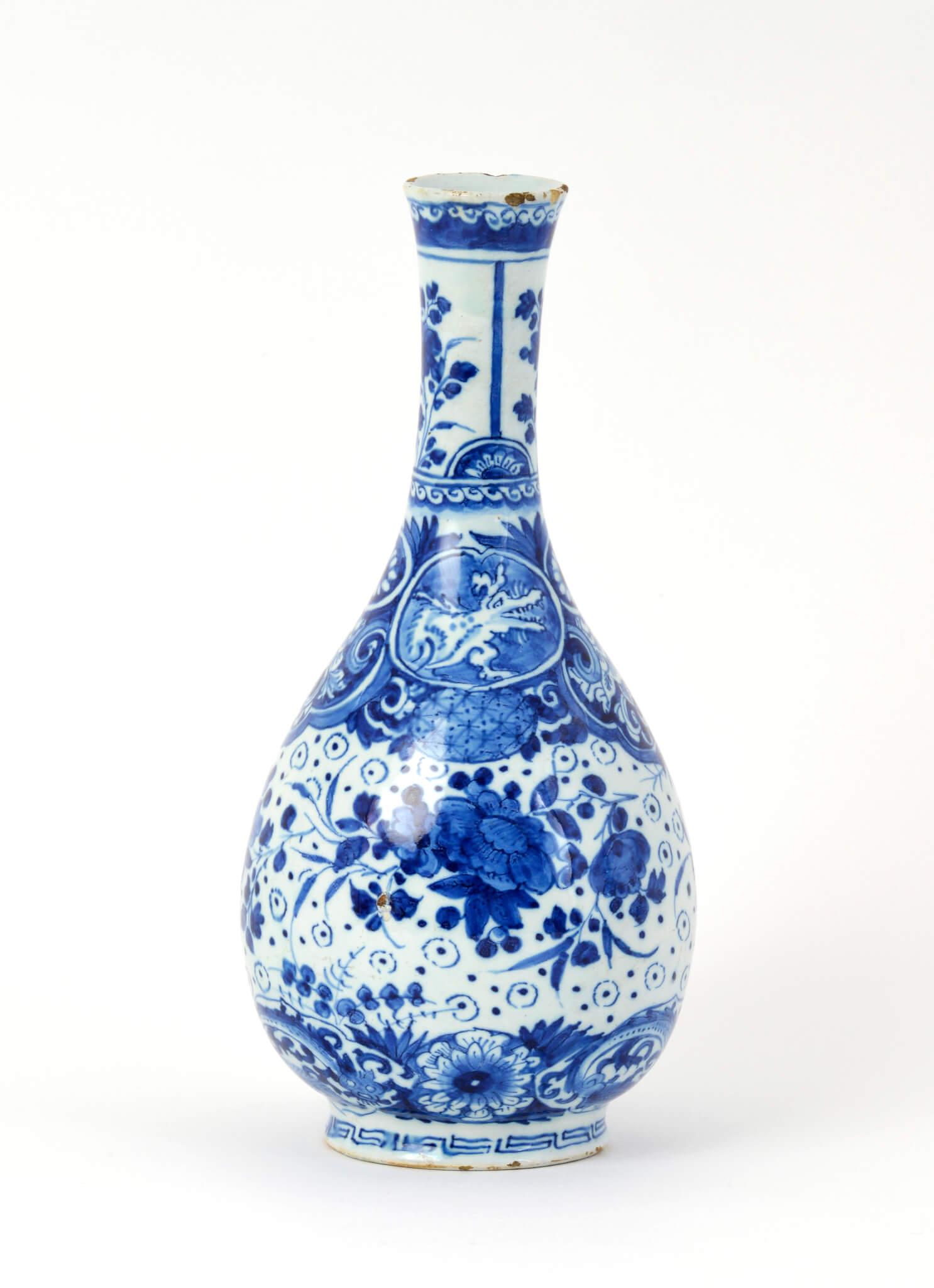 Blue And White Bottle Vase Antique Aronson Delftware
