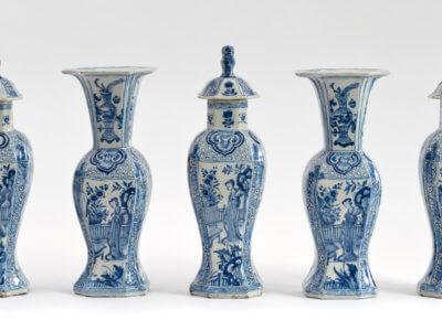 Delftware Aronson Delftware Antique Blue And White Garniture