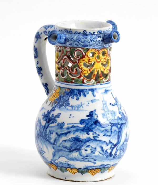 antique polychrome aronson puzzle jug