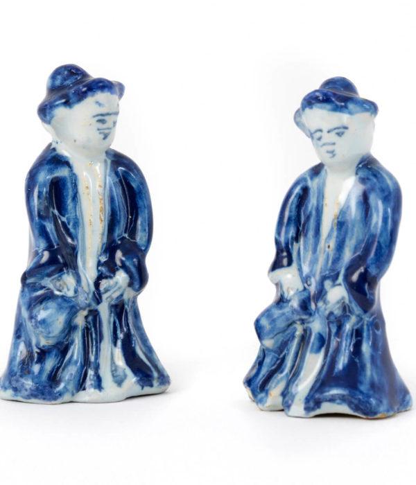 white delftware miniature figures antique