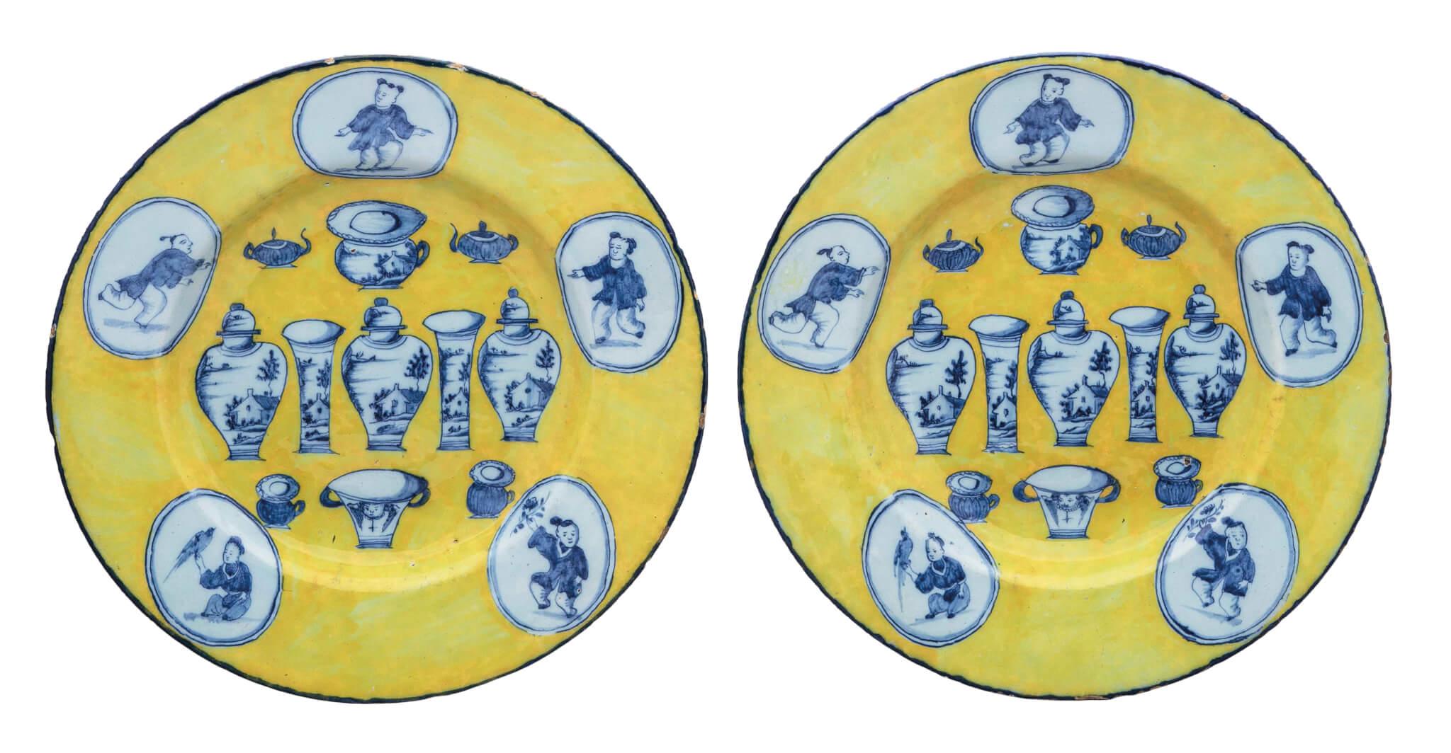 Delftware Yellow-Ground Sample Plates - Aronson Antiquairs