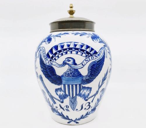 Antique American Union Tobacco Jar Delftware