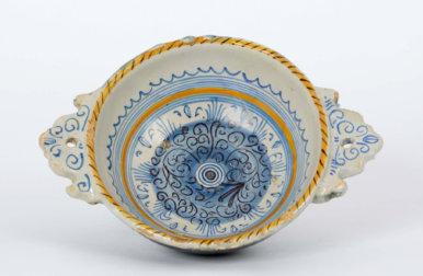 Majolica Bowl. Blue And Orange