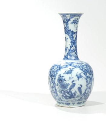 D0830. Blue And White Bottle Vase