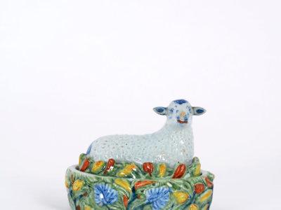 Polychrome Delftware Tureen Sheep