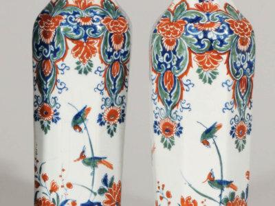 Pair Of Cashmere Palette Octagonal Rouleau Vases