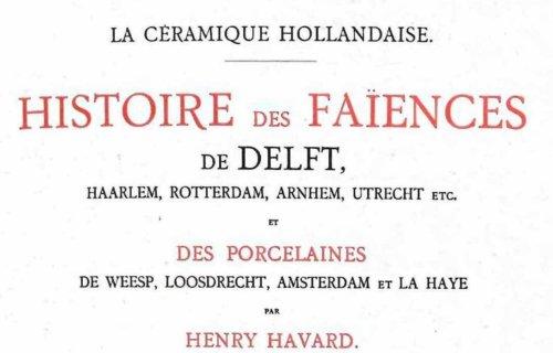 Havard Faience De Delft Book